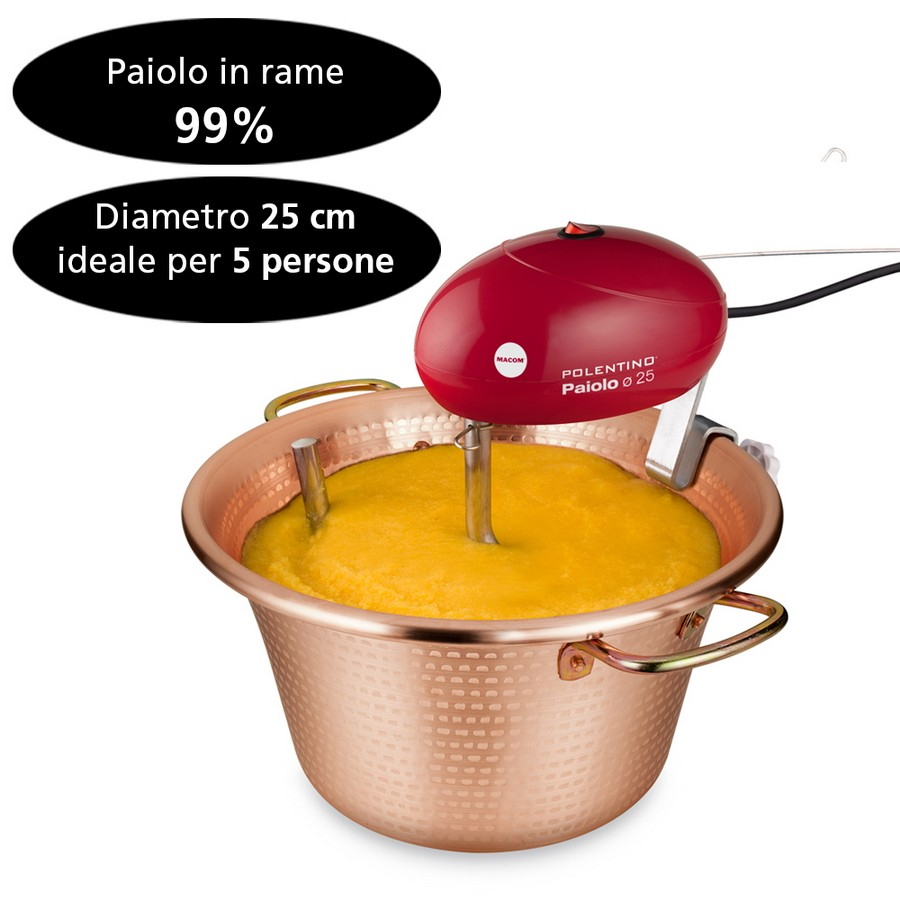 CERIANI Copper Paiolo for Polenta Arco Handle Diameter 24 cm